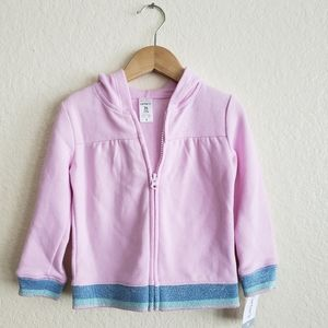 Carters Girls Zip Hoodie 2T Pink with Sparkle Cuff